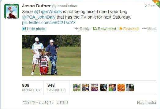 Jason Dufner Asks John Daily for his Golf Bag after Tiger Woods denies reschedule.