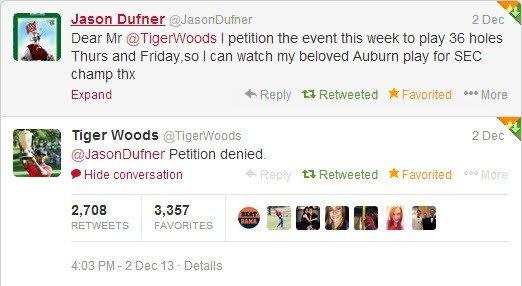 Jason Dufner Asks Tiger Woods to Reschedule This Week s World Challenge.