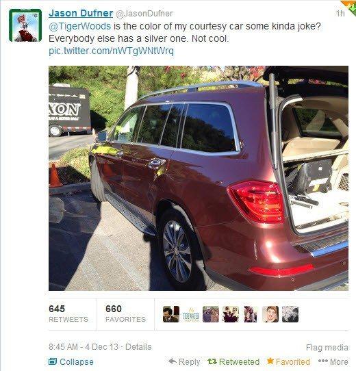 Jason Dufner Asks Tiger Woodsabout the Color of his Courtesy car at World Challenge